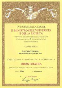 Abilitazione all'esercizio della professione di Odontoiatra - Zuccaro Daiana